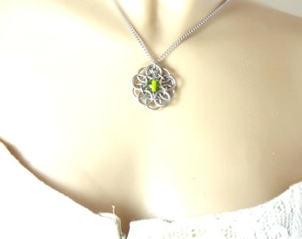Green Celtic Flower Necklace Handmade In Chainmaille And Glass Bead
