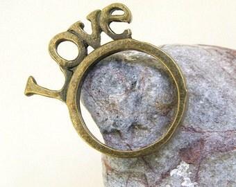 5PCS Q Antiqued Bronze Love Ring Base  DIY Kits Fit Necklace Bracelet  Pendant Jewelry Filigree Link Findings