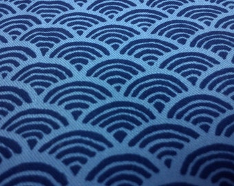 Dark blue sea waves or fish scales, pale blue, 1/2 yard, pure cotton fabric