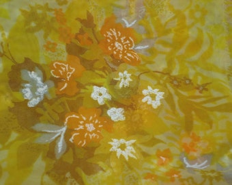 Not So Mellow Yellow Vintage Sheer Fabric Length