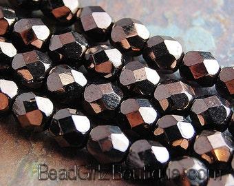 Chocolate Bronze Czech Glass Faceted 6mm Beads -25