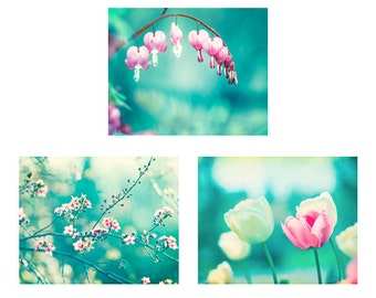 Aqua Pink Flower Print Set, teal blue turquoise photos nursery wall art floral pictures colorful decor nature photography girls room artwork