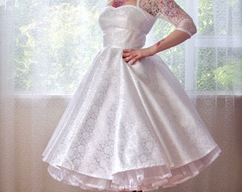 "1950's Rockabilly ""Lorilyn""Wedding Dress with Sleeves, Lace Overlay, Ribbon Trim, Tea Length Skirt and Petticoat - Custom made to fit"
