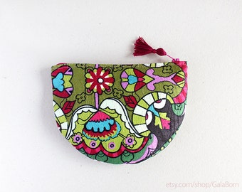 Small pouch - Oriental - Bright colors - Anti stain fabric - Green Pink Brown - Asian Summer