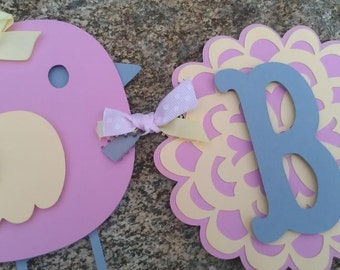 Bird Baby Shower Banner, pink, yellow and gray