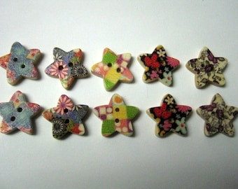 10 Mixed Star Wood Painting Sewing Buttons
