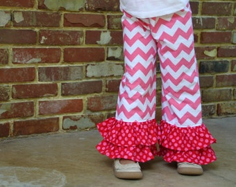 Girls hot pink chevron and polka dot ruffle pants -- size 12m through 6 -- perfect for Valentines Day