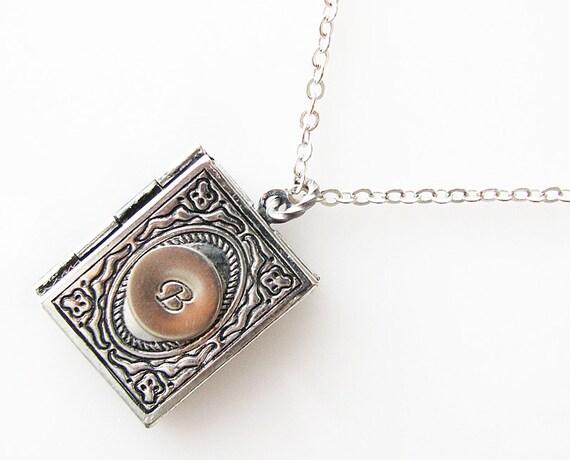 personalized locket necklace, long necklace, initial monogram locket, bridesmaid gift, book locket necklace, customized jewelry