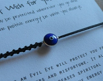 Sterling Silver Rimmed Glass Evil Eye (9 mm) Bracelet  - Protects you from danger and misfortune