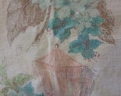 Vintage Bark Cloth Pink and Aqua
