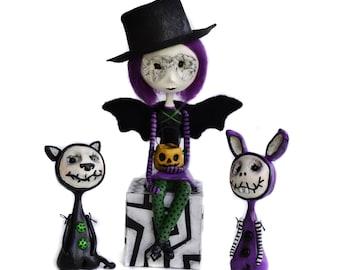 Custom Art Doll - Halloween Dolls - Halloween Decor - Halloween Cat - Halloween Bunny