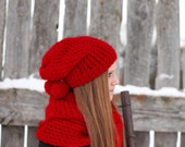 Red Knitting Hat - Red Pom Pom Hat - Red Hand Knit Beret - Red Women Hat, ready to ship