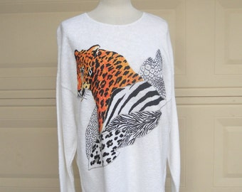Vintage Cat Sweater, Leopard Sweater 1980s Oversized Avant Garde Slouchy Sweater Hand Painted
