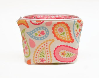 small flat bottom makeup bag zipper pouch paisley multi colored