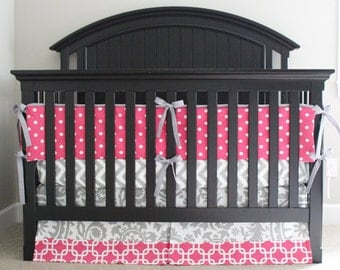Girl Crib Bedding Hot Pink Gray Nursery Set Bright Polka Dot