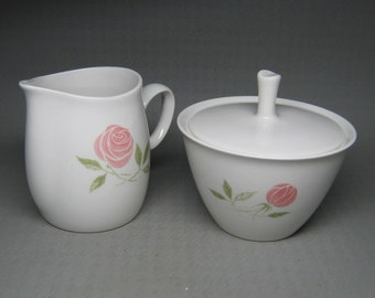 FRANCISCAN Pink A Dilly creamer and sugar bowl with lid