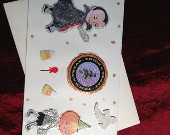 Trick or Treat-- Handmade Halloween Greeting Card-- Clearance Price