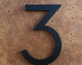 Modern House Number Aluminum Modern Font Number THREE 3 in Black