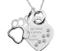 Dogs leave Paw Prints on our Hearts 925 Silver Heart Necklace (can be personalised/engraved) with paw print EY2