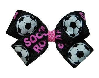 Large Soccer Ball Hair Bow