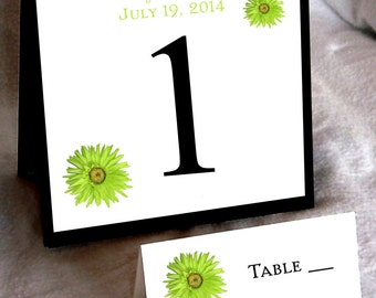 25 Lime Green Daisy Wedding Table Numbers and 250 place settings for reception tables