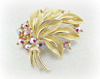 Vintage Gold Leaf Brooch Pin, Designer LISNER Brooch, Red Aurora Borealis Rhinestones Brooch, 1960s Mad Men Costume Jewelry