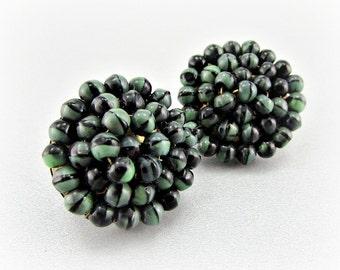 Vintage Cluster Earrings, Designer VOGUE, Green Black Glass Earrings, Glass Bead Earrings, Clip-on Earrings, 1950s Vintage Costume Jewelry