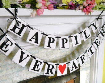 Wedding garland / HAPPILY EVER AFTER banner / Wedding Car Sign / bridal shower decorations / Happily Ever after /Your color choice