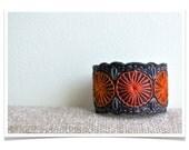 Wool Felt Bracelet Wristband Cuff ø Hand Embroidered ø Ember & Coal ø LoftFullOfGoodies