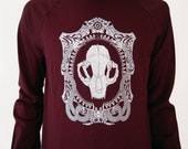 Nouveau Cat Skull Cameo Burgundy Screen Print Punk Crew Neck Sweater