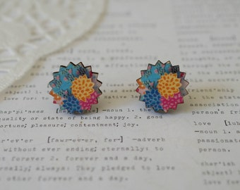 Wooden Round Zig Zag with Colorful Dahlia Flower Stud Earrings
