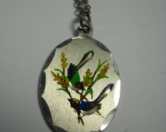 Pewter engraved painted wild birds necklace