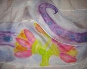 Handpainted OOAK silk narrow scarf tentacles lotus blossoms original design Lovecraft horror