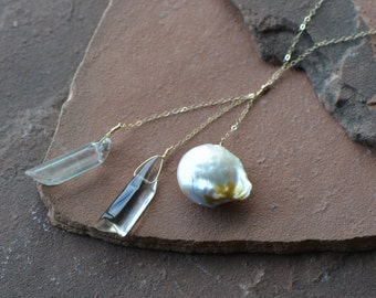 Pearl and Crystal Necklace, Baroque Pearl, Rock Crystal, Smoky Quartz, Lariat Style Necklace, Delicate Gold Chain