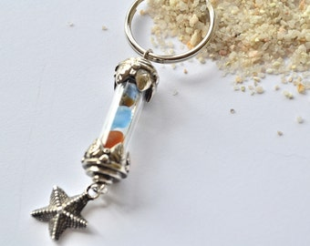 Glass Vial Sea glass Key Chain with Charm