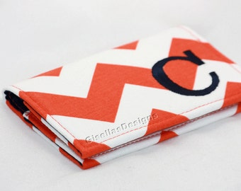 Bright Coral and Navy Personalized Business card holder, Custom made Business card holder, Graduation Gift