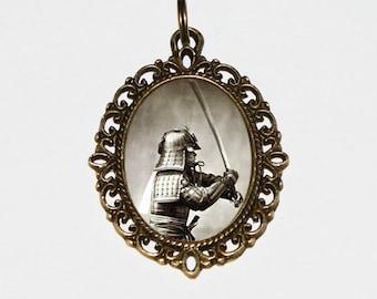 Samurai Necklace, Sword Jewelry, Japanese, Katana, Brave, Warrior, Japan, Bronze Oval Pendant
