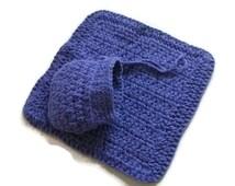 Crochet Purple Cotton Face Cloth & Soap Holder/Saver Bag. Bath and Shower Gift Set, Bathroom Accessories, Pamper Gift Set,