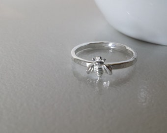 Sterling Silver Tiny Bee Ring
