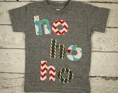 Christmas shirt Ho ho ho Holiday Shirt Christmas tee toddler baby great present snowman candy cane chevron