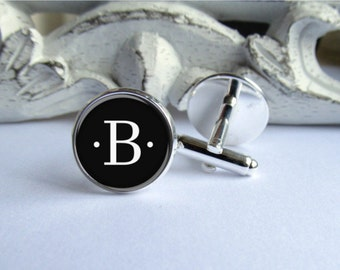 Personalized Mens Cufflinks, Custom Initial Cufflinks, Monogram Cufflinks