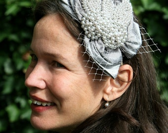 Aukje Bridal Fascinator Dupioni Silk Pearl Detail
