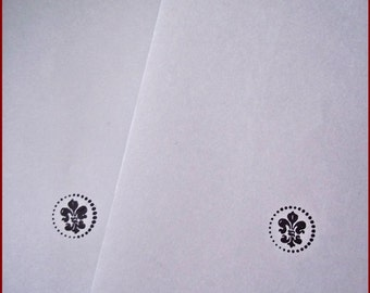 12 String & Button Envelopes: Luxury Greyish Blue C6 Envelopes With Fleur-de-Lise, For Craftwork Invitations and More