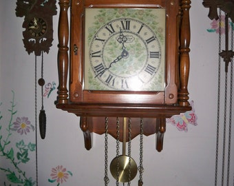 Vintage 1970's New England Clock Co. Weight Driven Wall Clock
