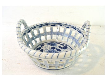 Vintage Floral Blue and White Open Weave Hand Made Ceramic Basket Bowl by Maitland Smith Ltd