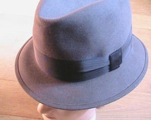 Mossant  1950s Men Felt Fedora Hat - MADE IN FRANCE - Rare New/Old Stock - S - 6.3/4