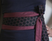 Honeypie -  Obi Corset Wrap Belt Recycled Silk Ties Blue Pink