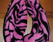 Pink and Black Zebra Print Infinity Scarf -- Super warm blizzard fleece, perfect for winter