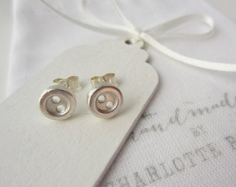 Silver Button Earrings, button earrings, button jewellery, sewing jewellery, haberdashery jewellery