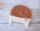 RUSH READY to SHIP - Chunky Earflap Beanie with Wooden Button, Newborn Photography Prop, Harvest Orange and Cream